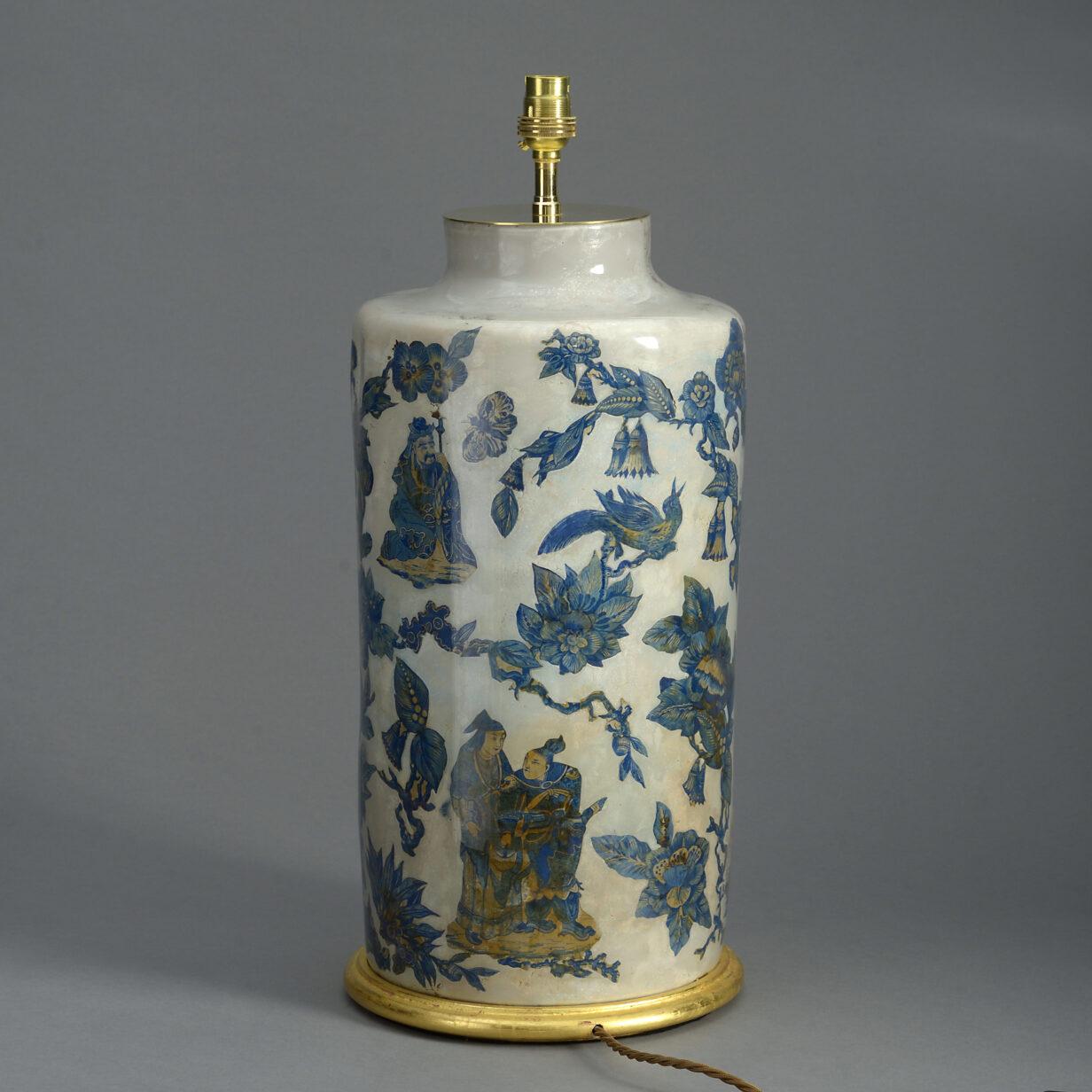 19th Century Decalcomania Vase lamp