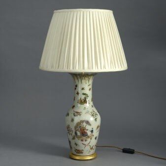 Pale Green Decalcomania Vase Lamp