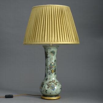 Green Decalcomania Vase Lamp