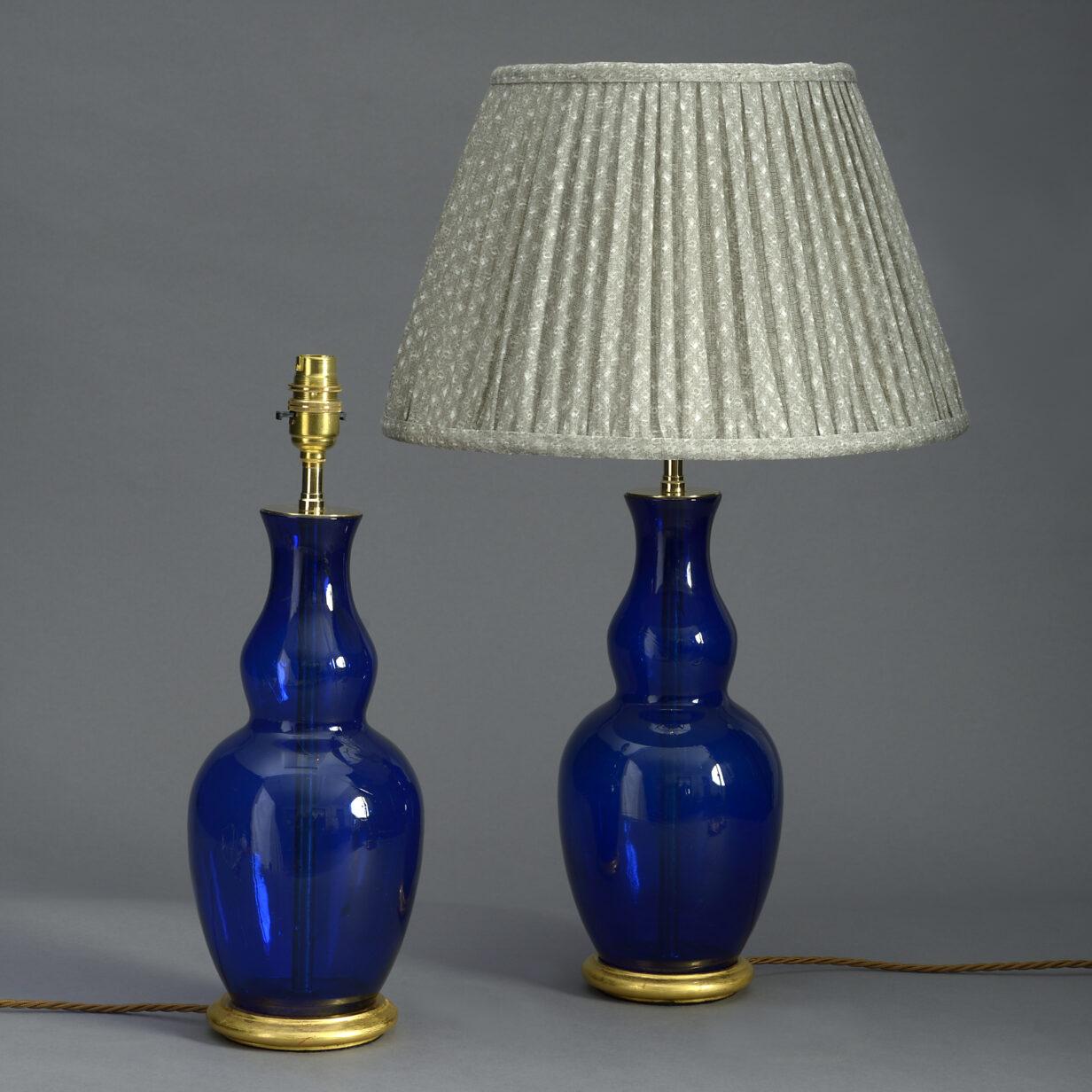 Pair of Bristol Blue Glass Vase Lamps