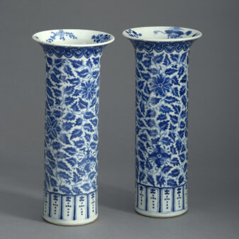 Pair of Blue and White Trumpet Vases