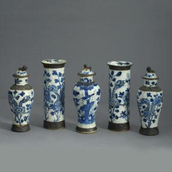 Garniture of Five Crackle Vases