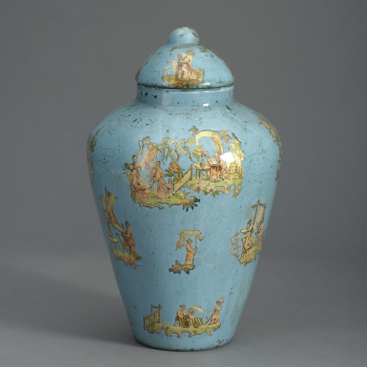 Blue Decalcomania Vase and Cover