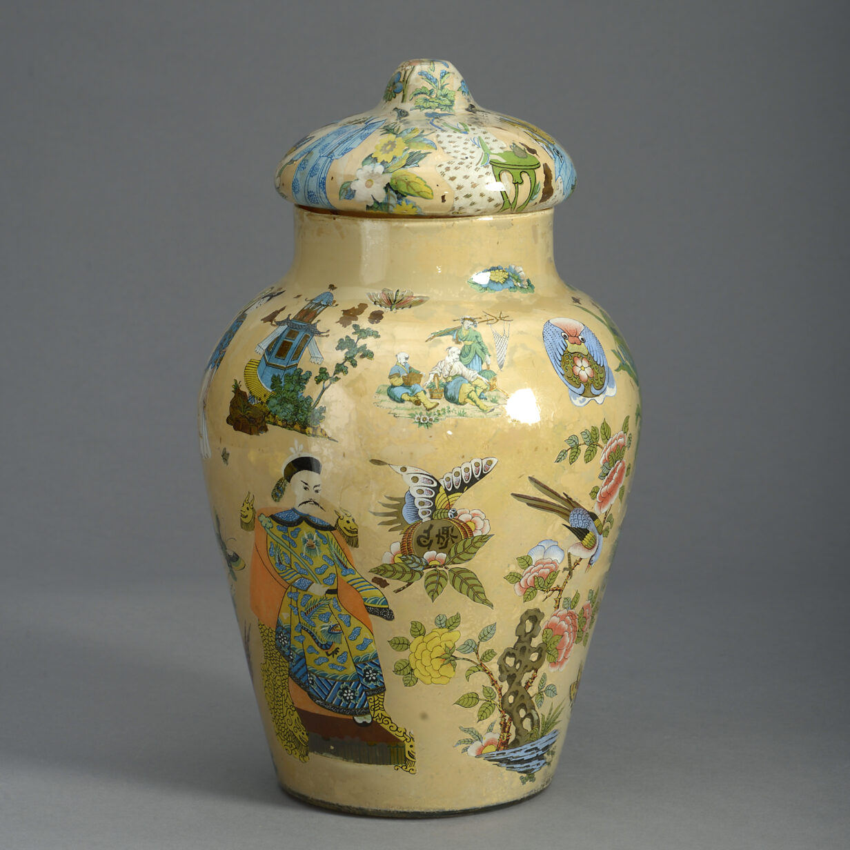 Yellow Ground Decalcomania Vase and Cover