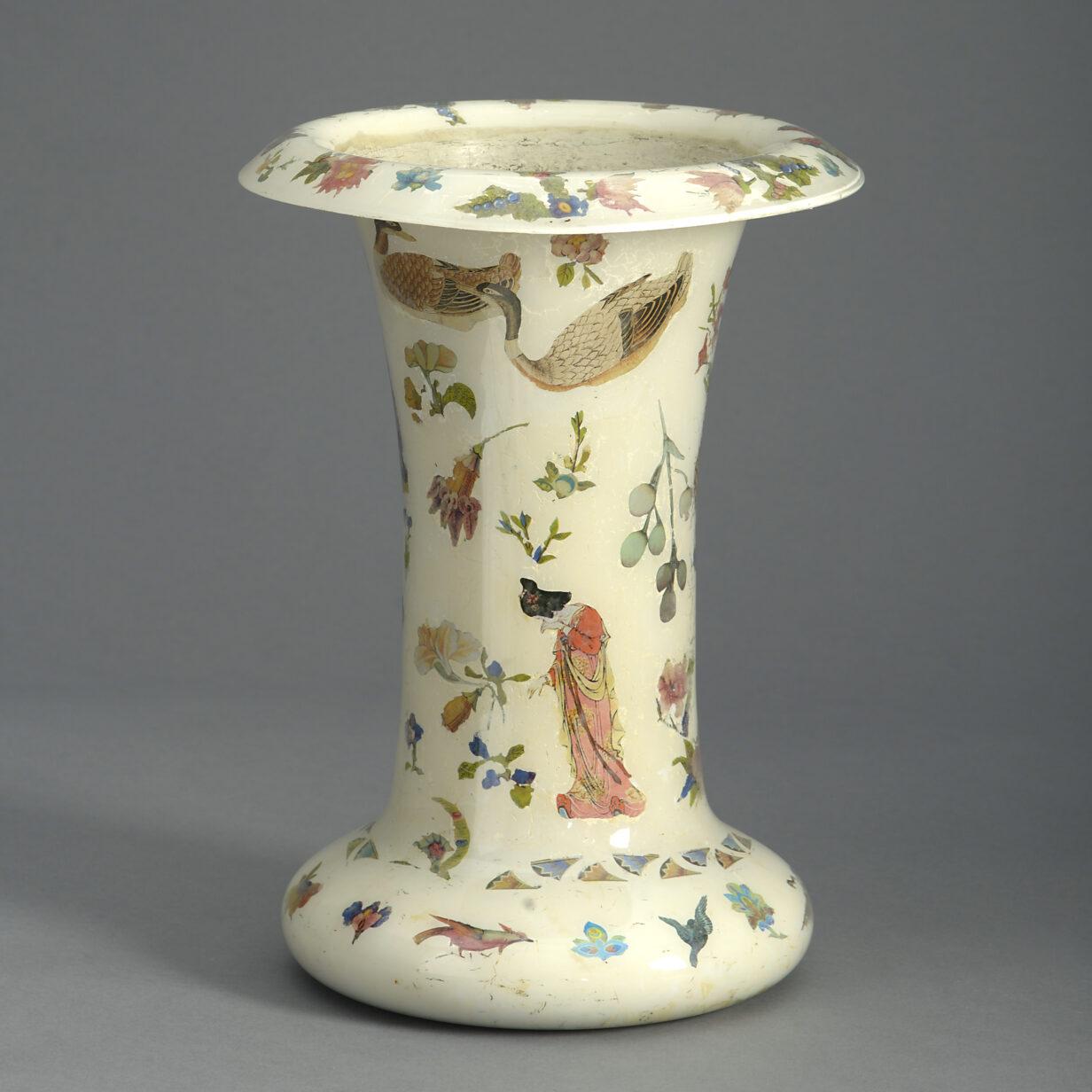 Roll Top Decalcomania Vase