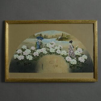 Late 19th Century Meiji Period Gouache Fan Design