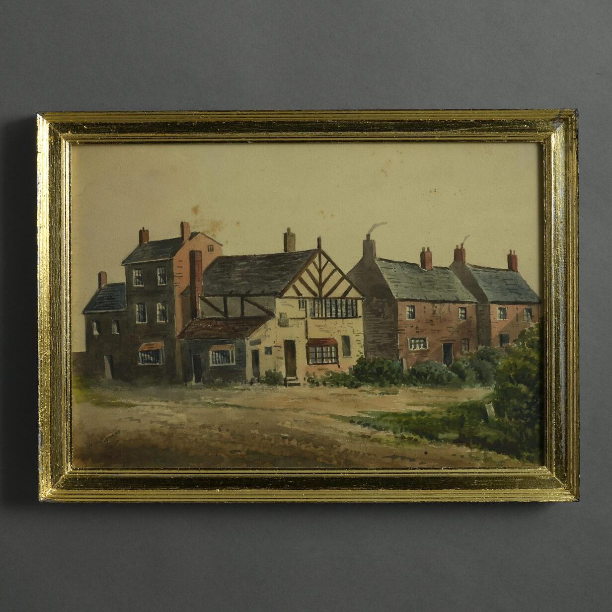 Village Houses Watercolour
