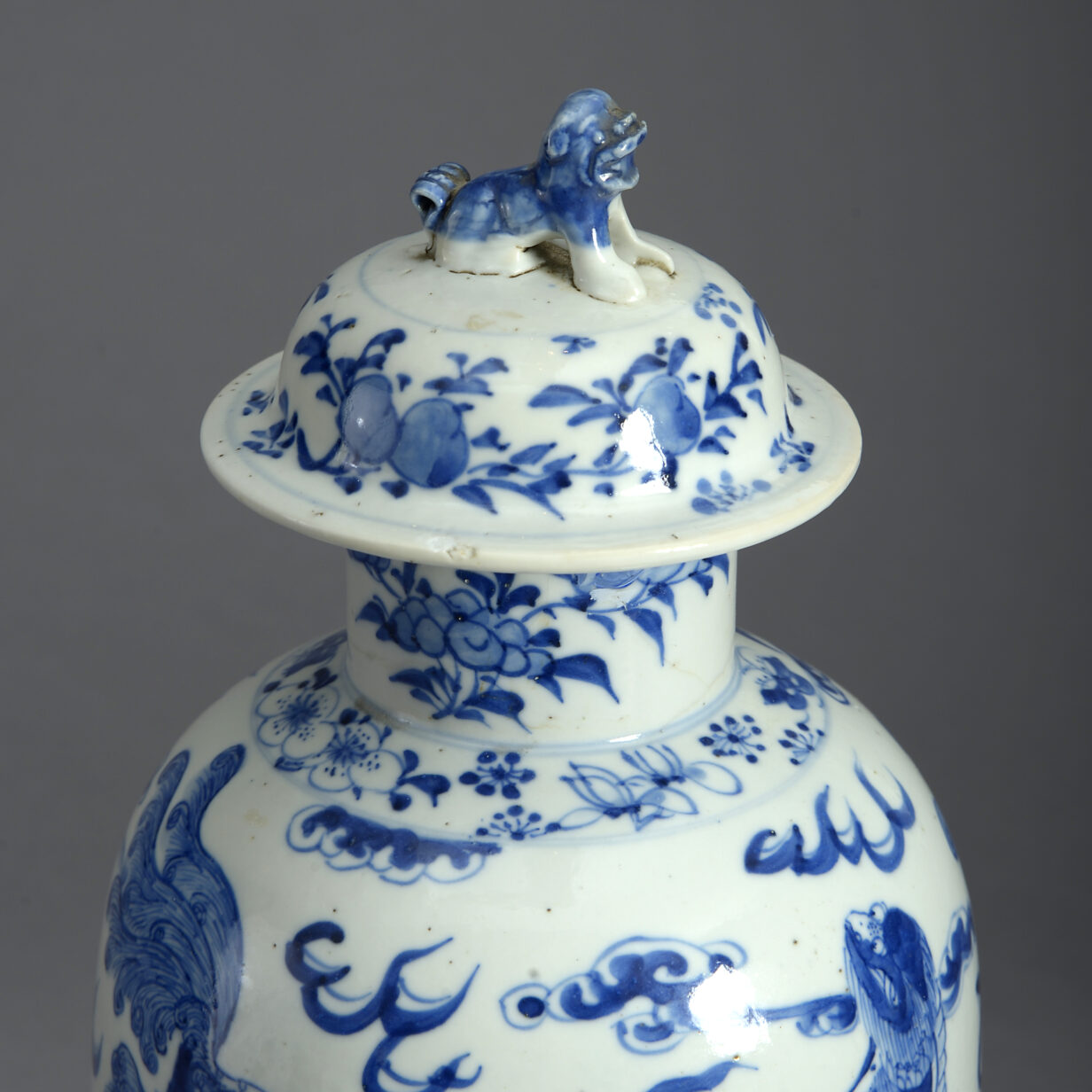 Blue and White Vase and Cover
