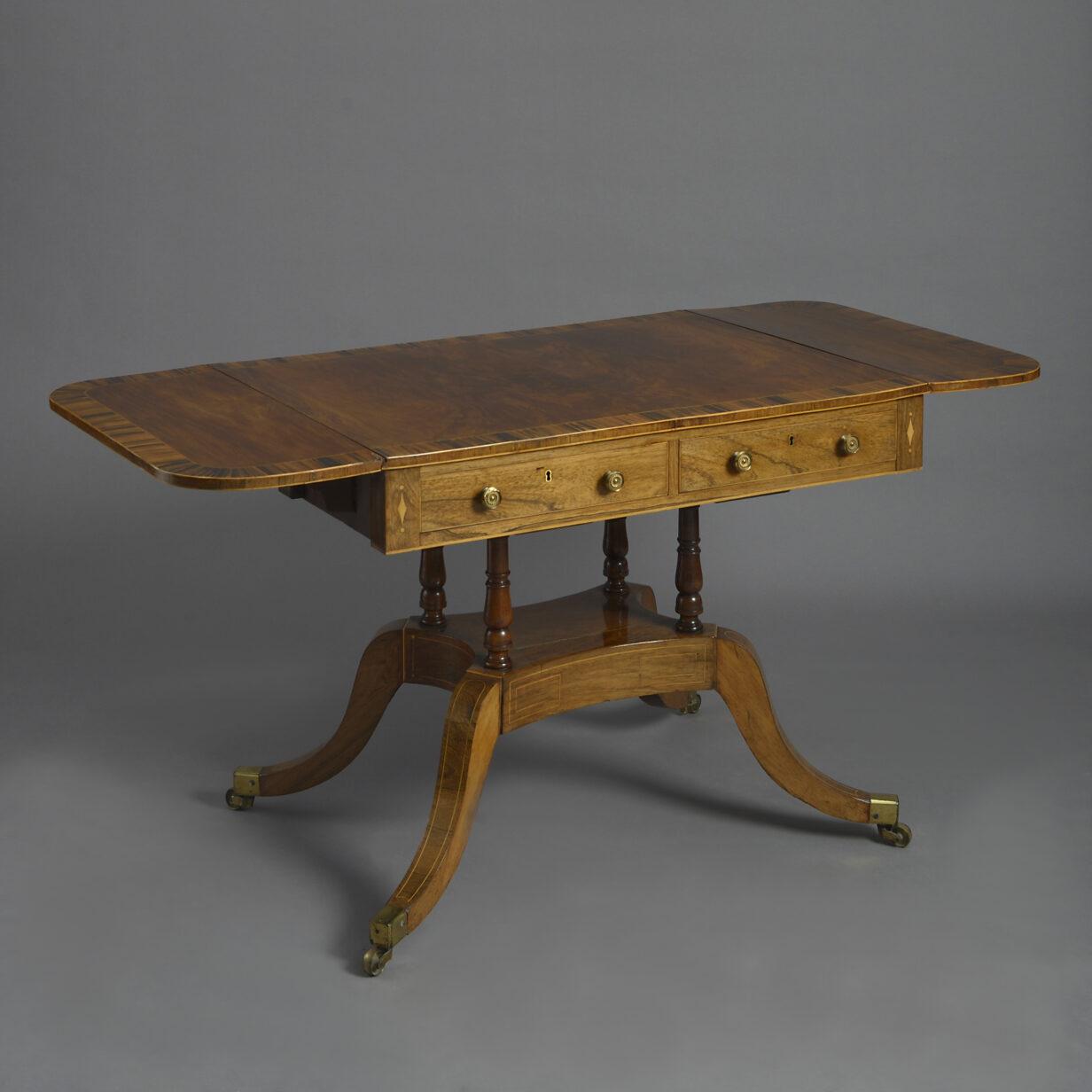 Regeny Rosewood and Calamander Sofa Table