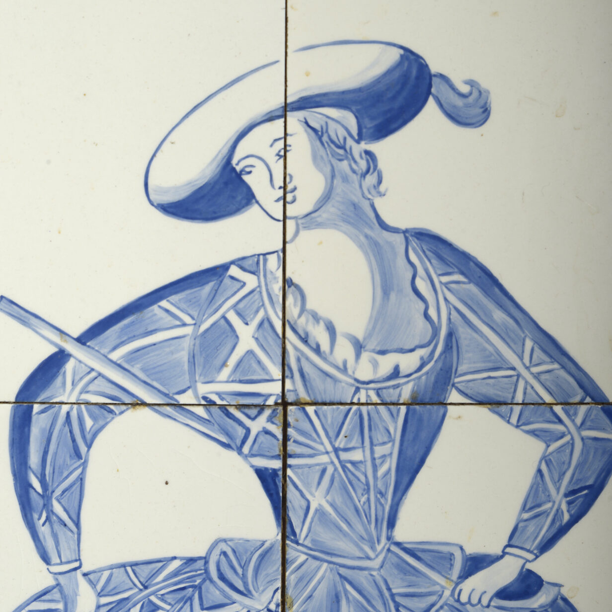 Pair of Blue and White Tile Pictures