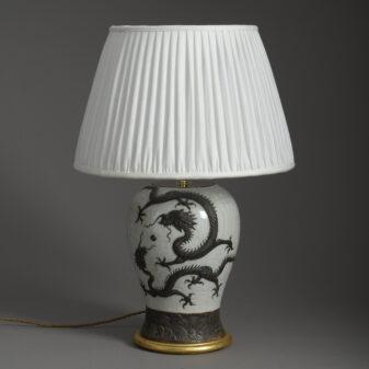 Dragon Crackle Glazed Vase Lamp