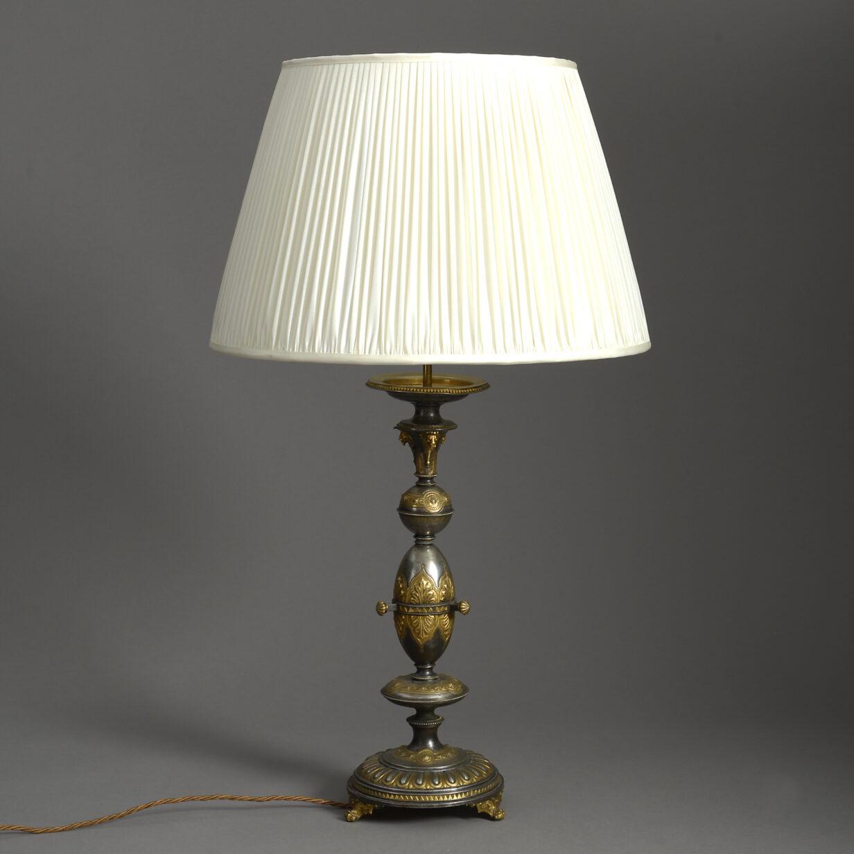 Steel and Gilt Metal Lamp
