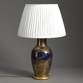 Meiji Blue and Gold Vase Lamp