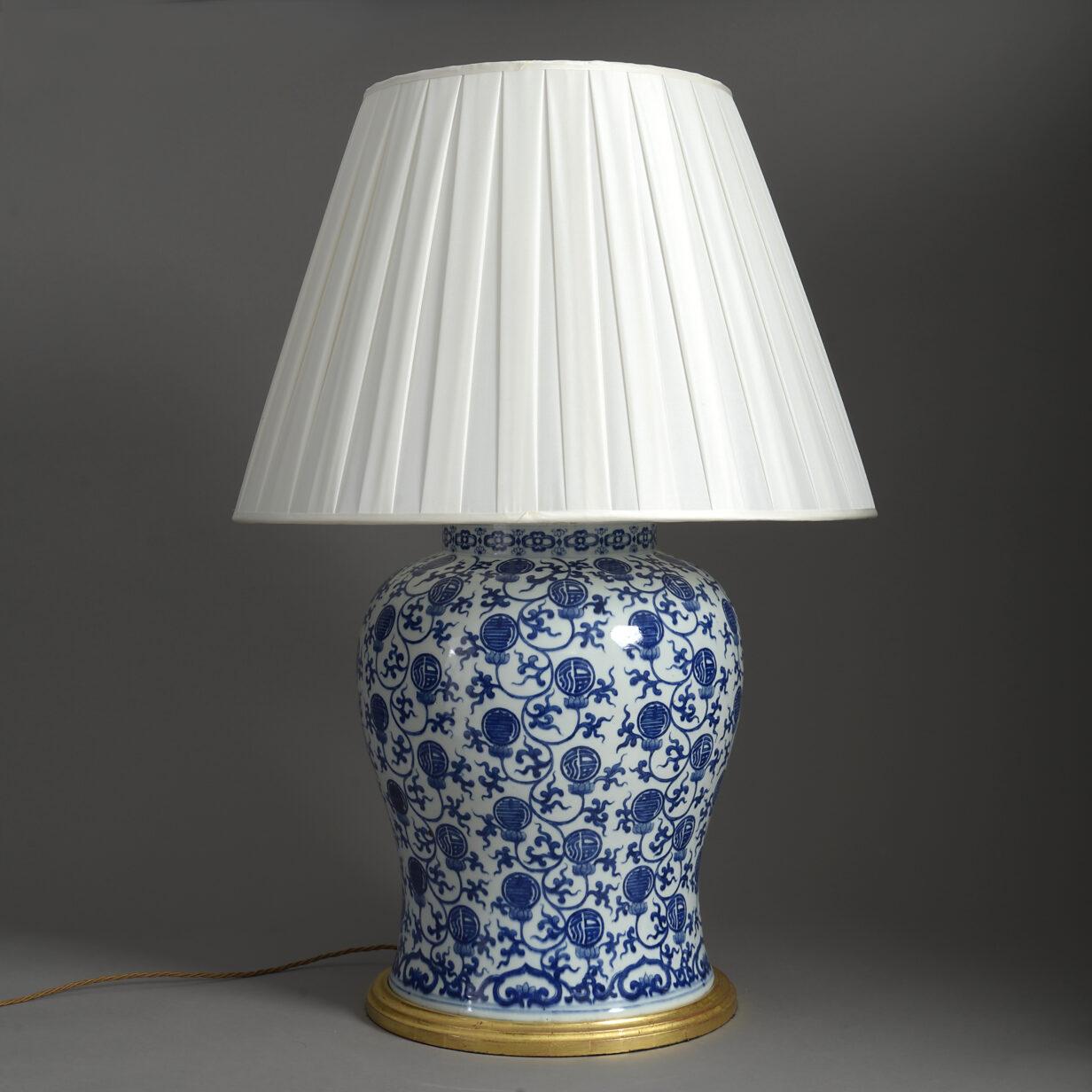 Large Blue and White Vase Lamp