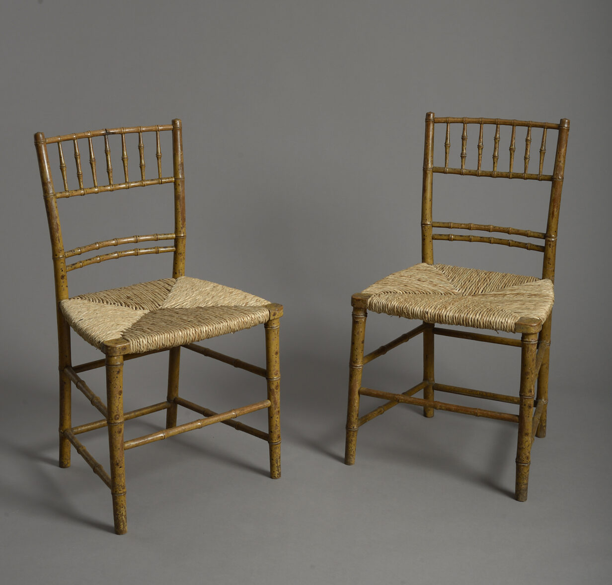 Pair of Faux Bamboo Regency Chairs
