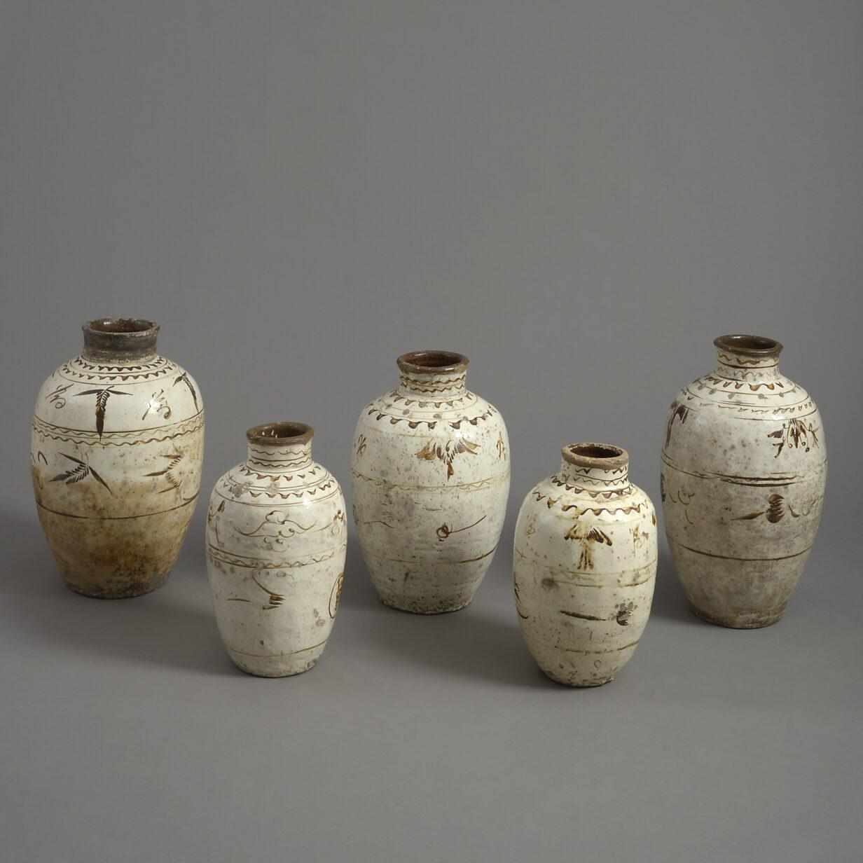 Five Ming Cizhou Vases
