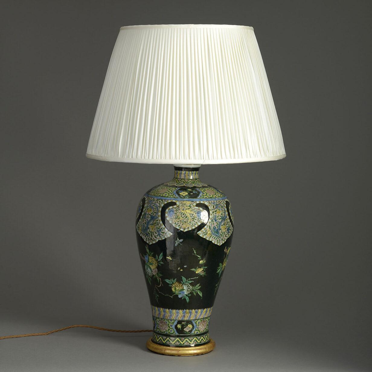 Famille Noire Porcelain Vase Lamp
