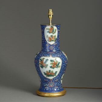 Blue Ground Porcelain Vase Lamp