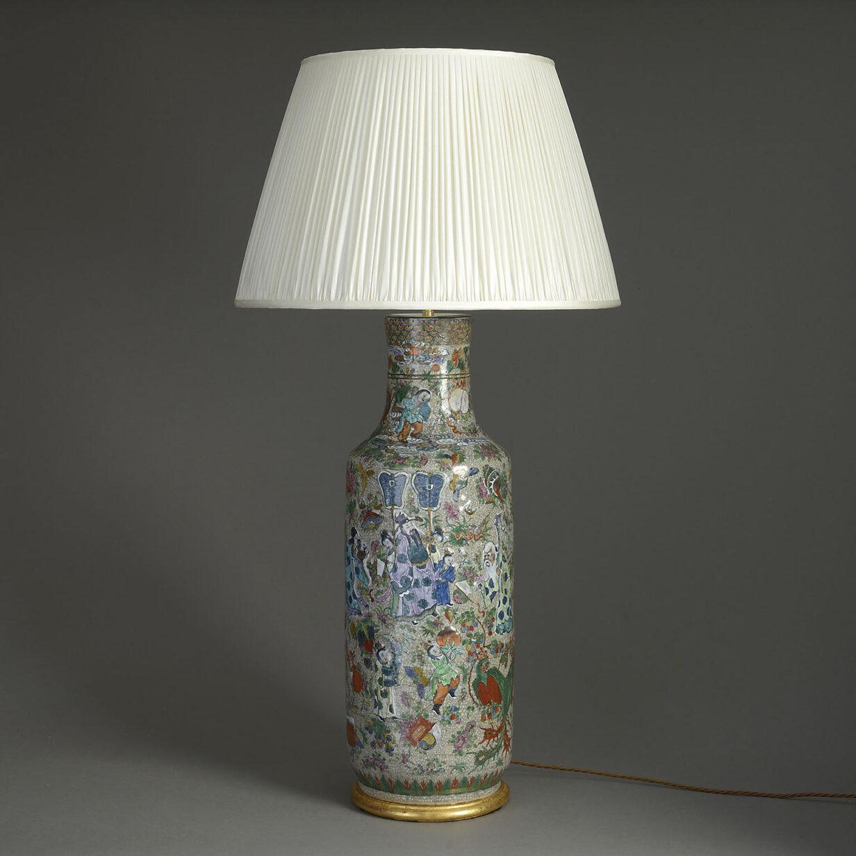 Crackle Glazed Vase Lamp