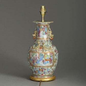 Canton Porcelain Vase Lamp