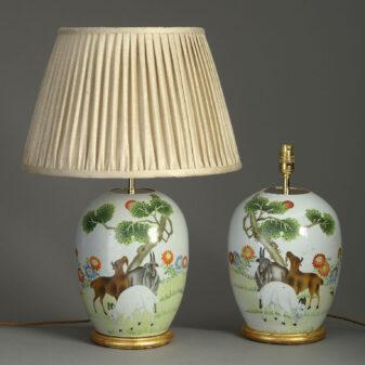 Pair of Republic Porcelain Jar Lamps