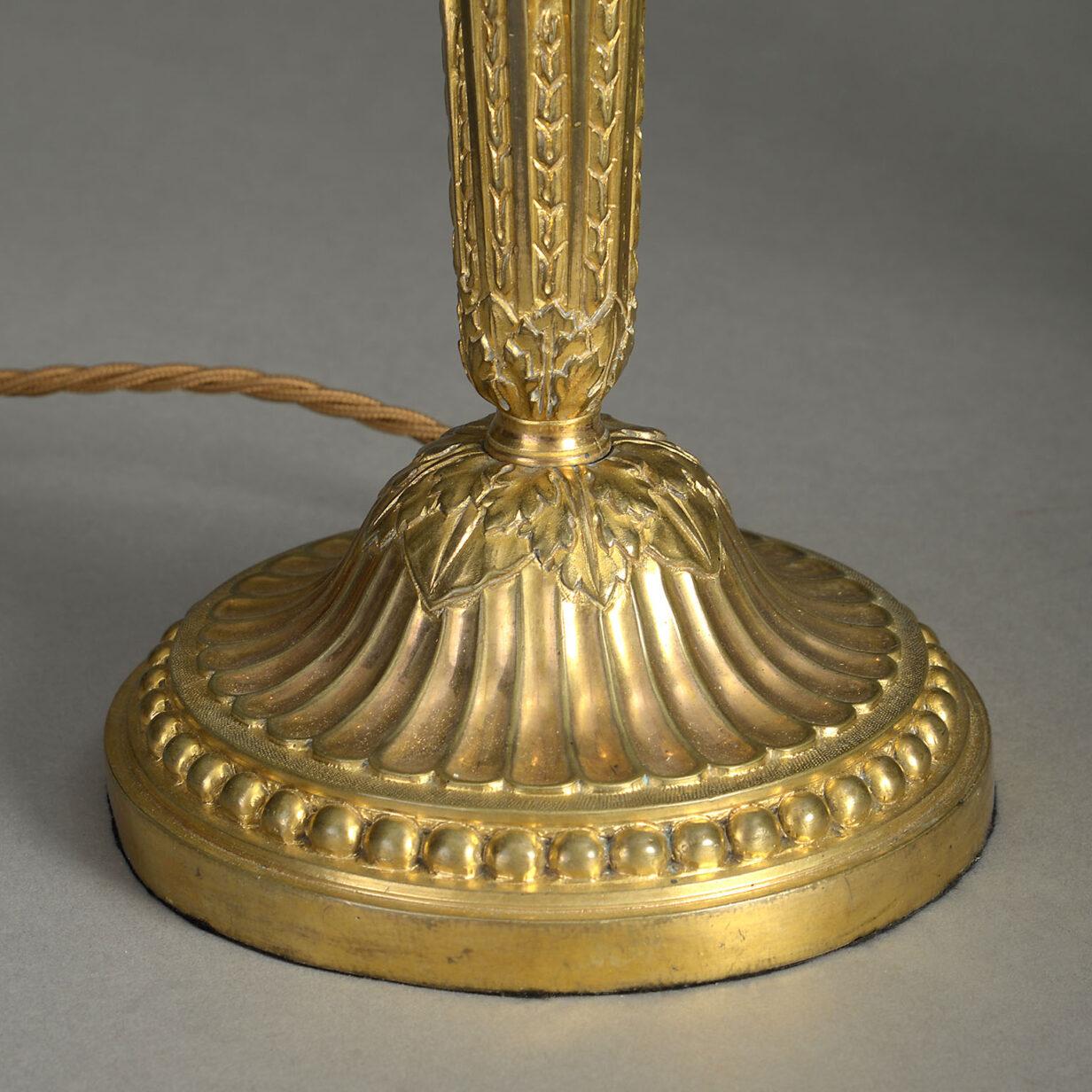 Pair of Louis XVI Ormolu Candlestick Lamps