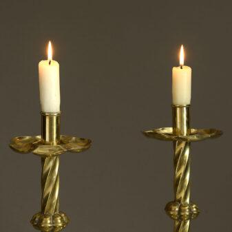 Pair of Victorian Brass Candlesticks
