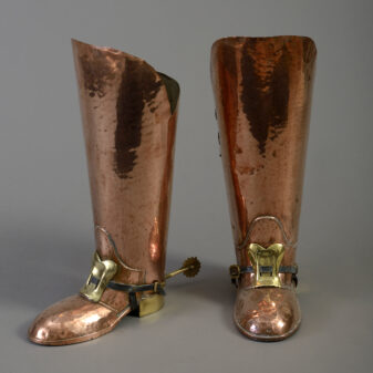 Pair of Copper and Brass Boot Umbrella Stands