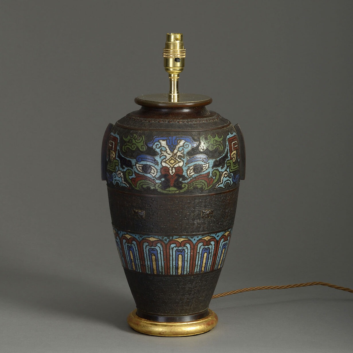 Enamelled Bronze Vase Lamp