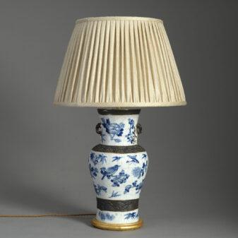 Chinese Blue and White Crackle Glazed Vase Lamp