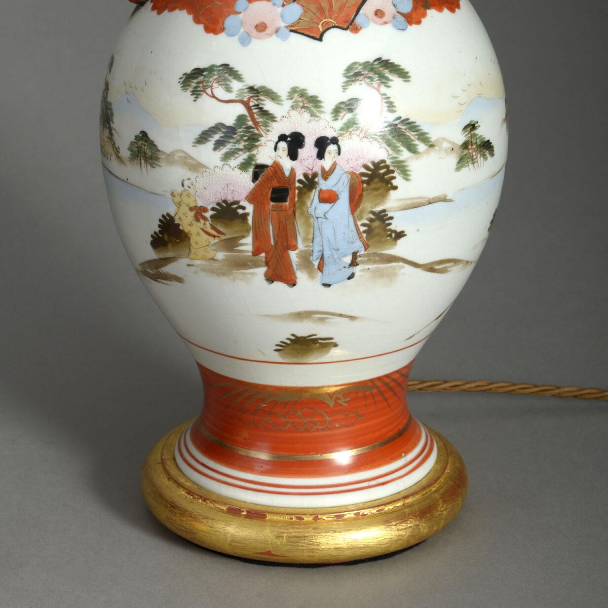 Pair of Satsuma Vase Lamps