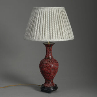 Red Cinnabar Lacquer Vase Lamp