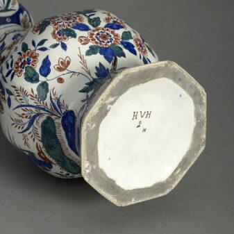 Delft Pottery Garlic Neck Vase