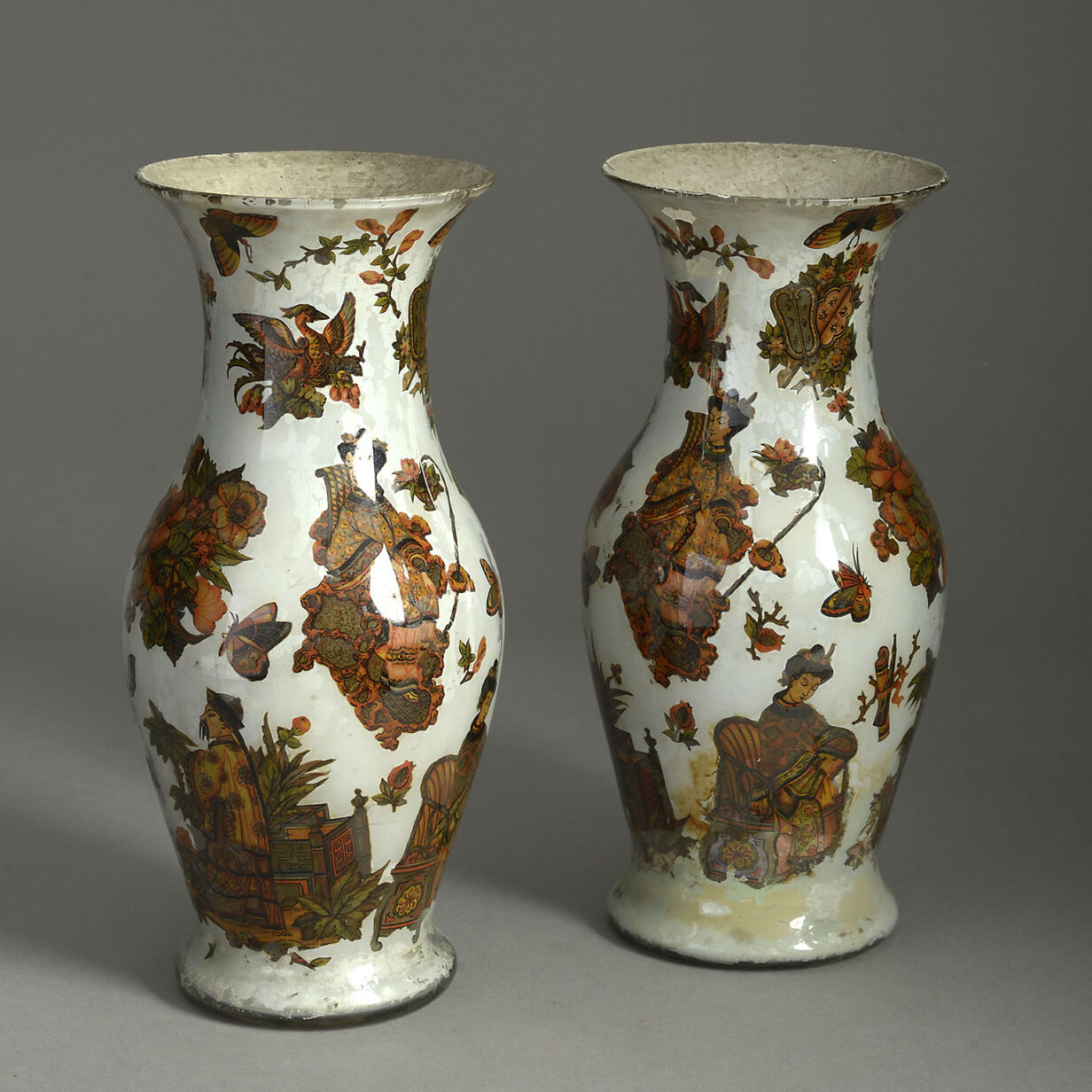 Pair of Decalcomania Vases