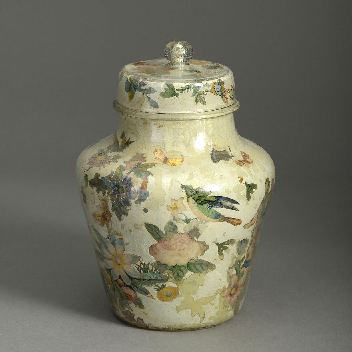 Small Lidded Decalcomania Vase