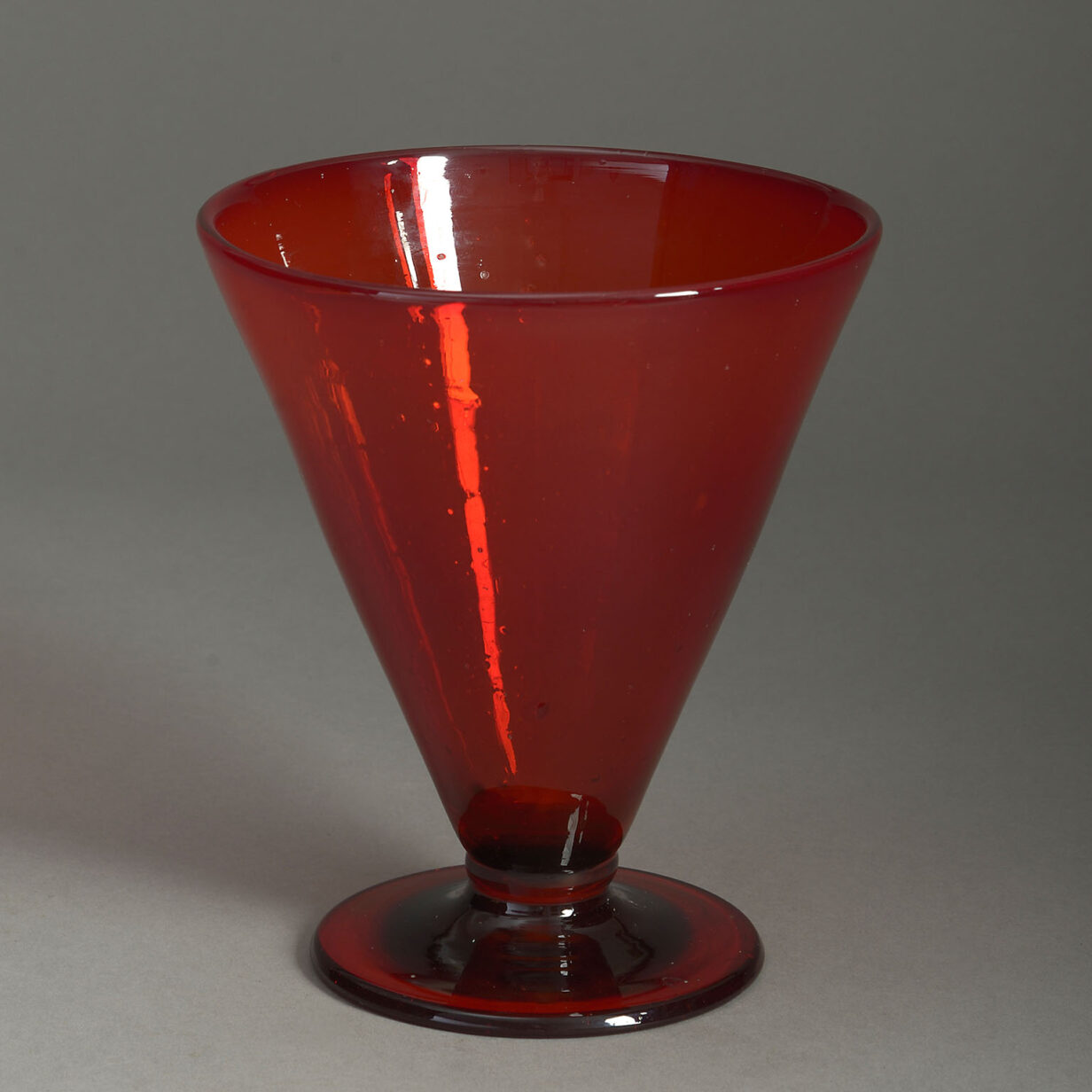 Conical Red Glass Vase