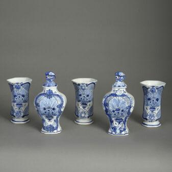 Garniture of Five Delft Vases