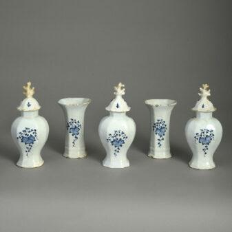 18th Century Blue and White Delft Garniture