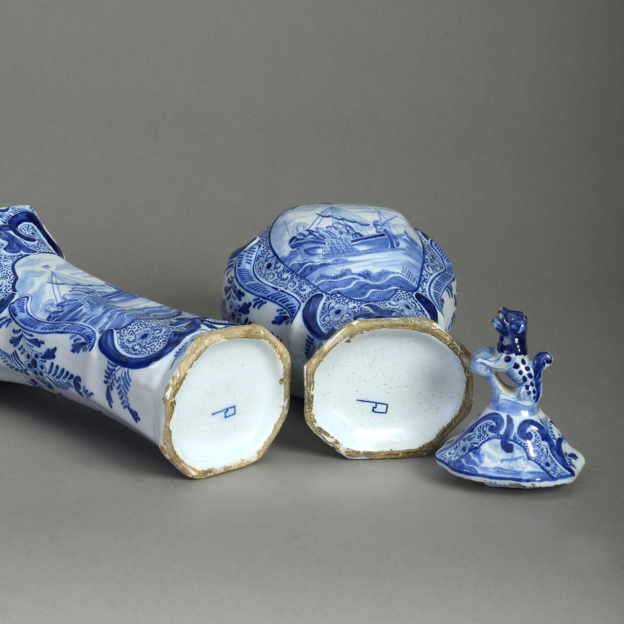 Garniture of Five Delft Blue and White Vases