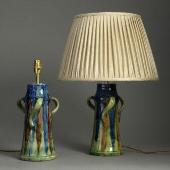 Pair of Art Nouveau Vase Lamps
