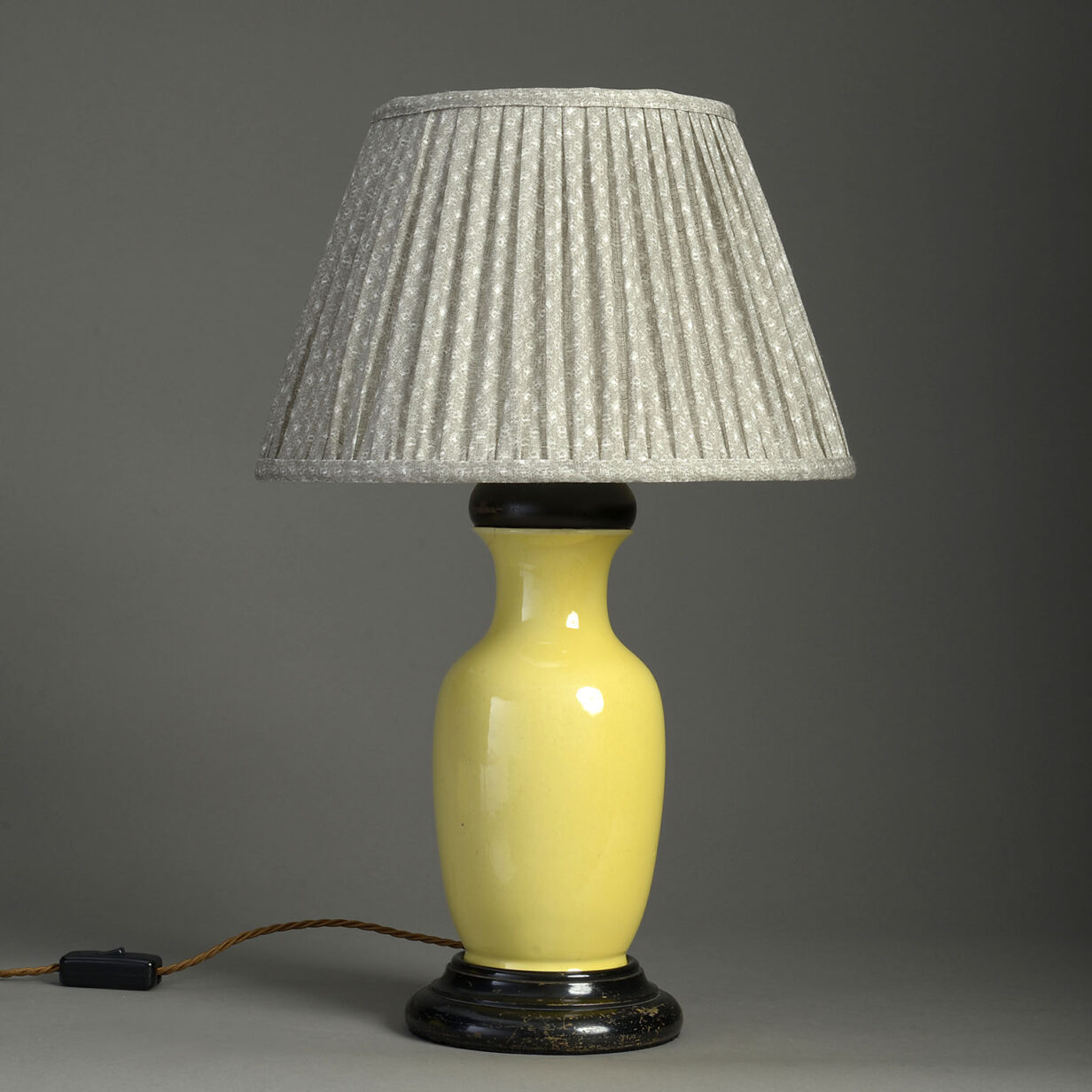 Yellow Pottery Vase Lamp