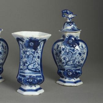 Delft Garniture of Blue and White Vases