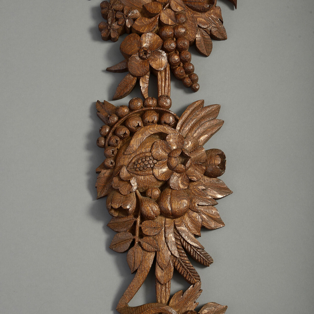 Pair of Carved Oak Wall Drops