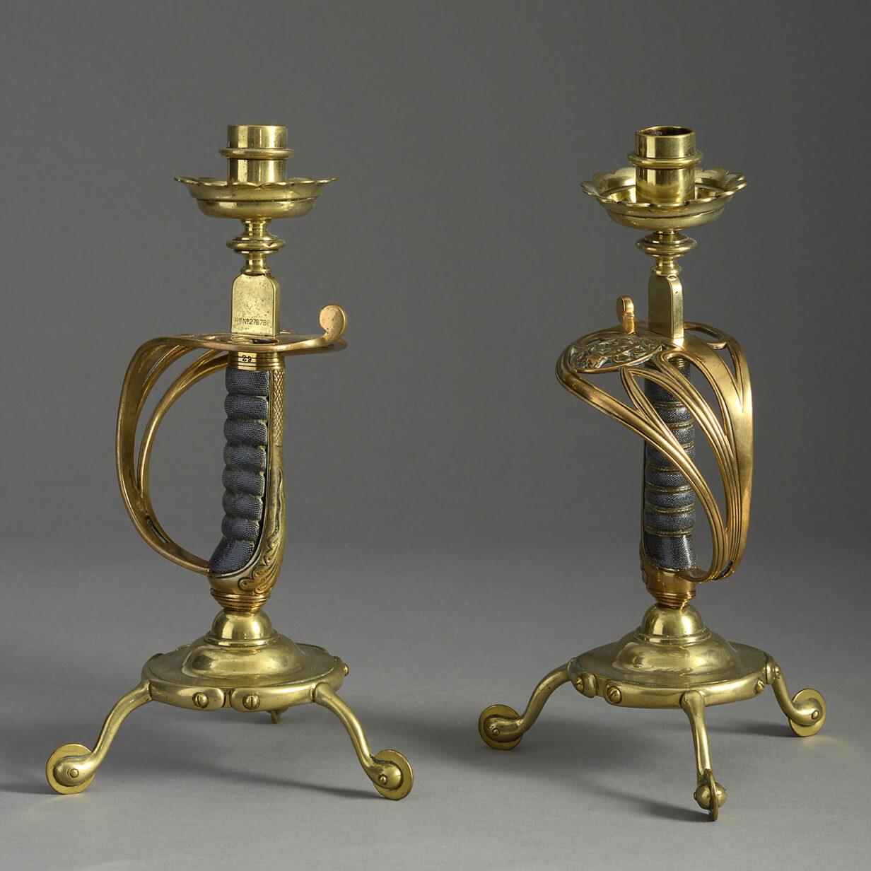 Pair of Sword Hilt Candlesticks