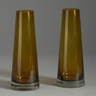 Pair of Amber Glass Vases