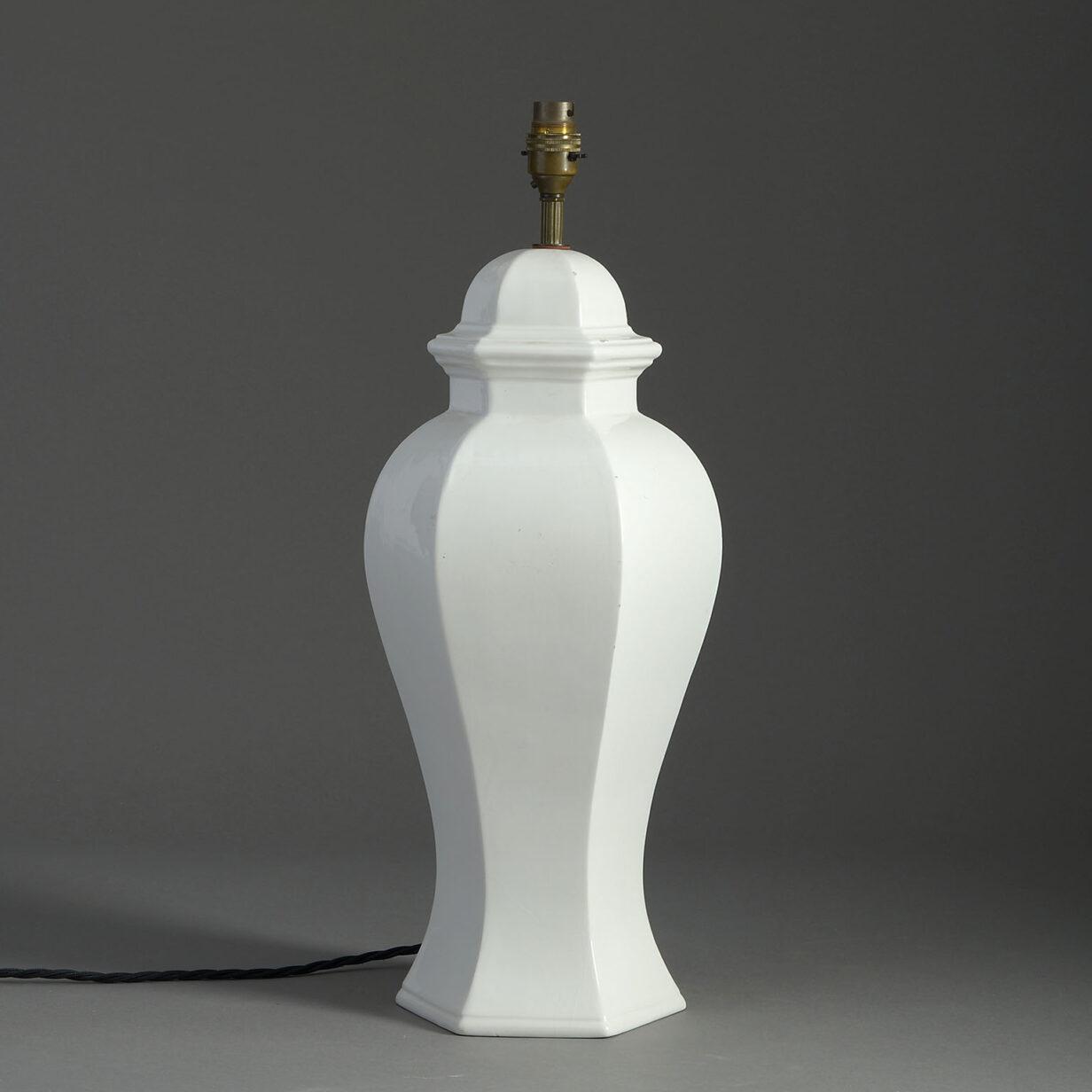 White Glazed Table Lamp