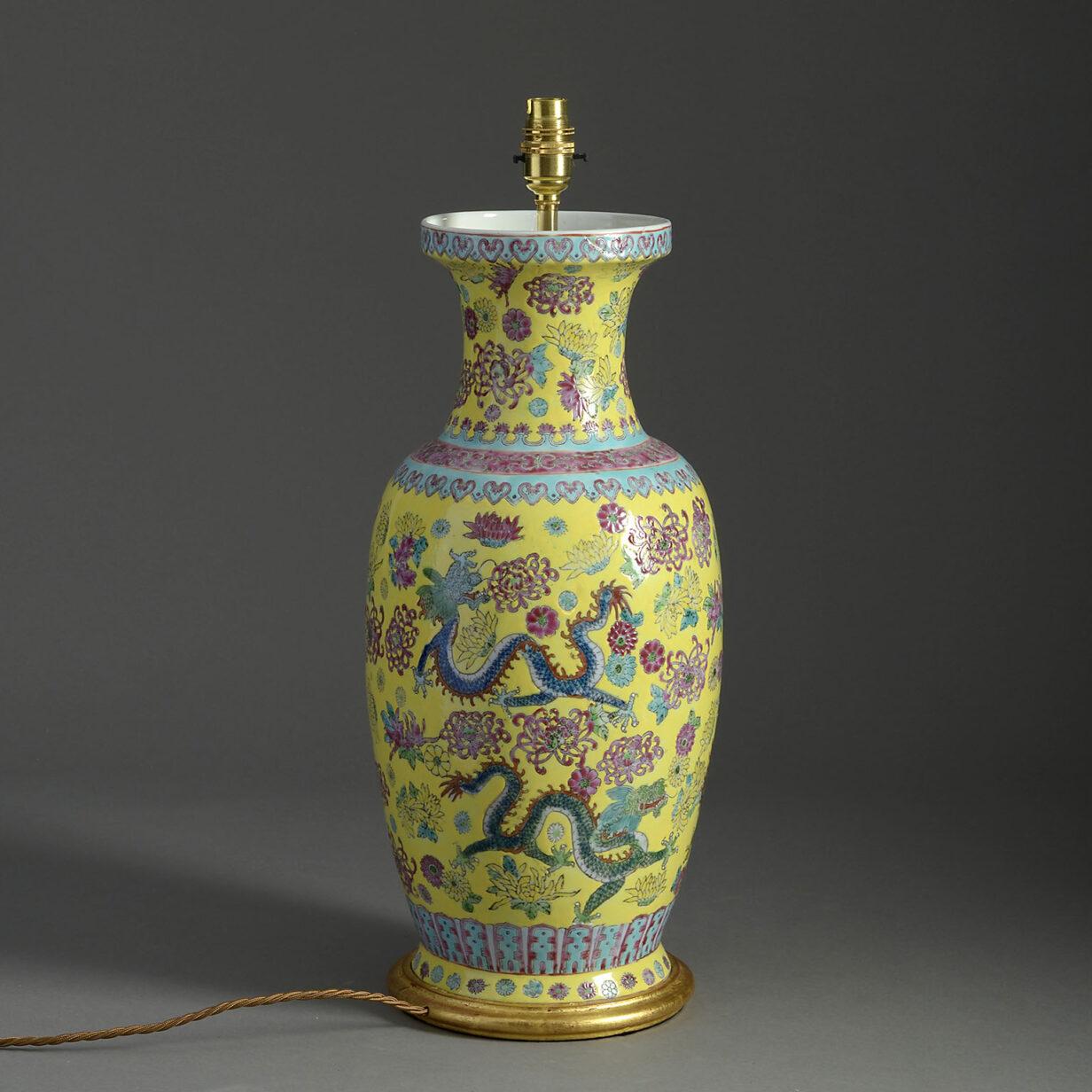 Yellow Chinese Vase Lamp