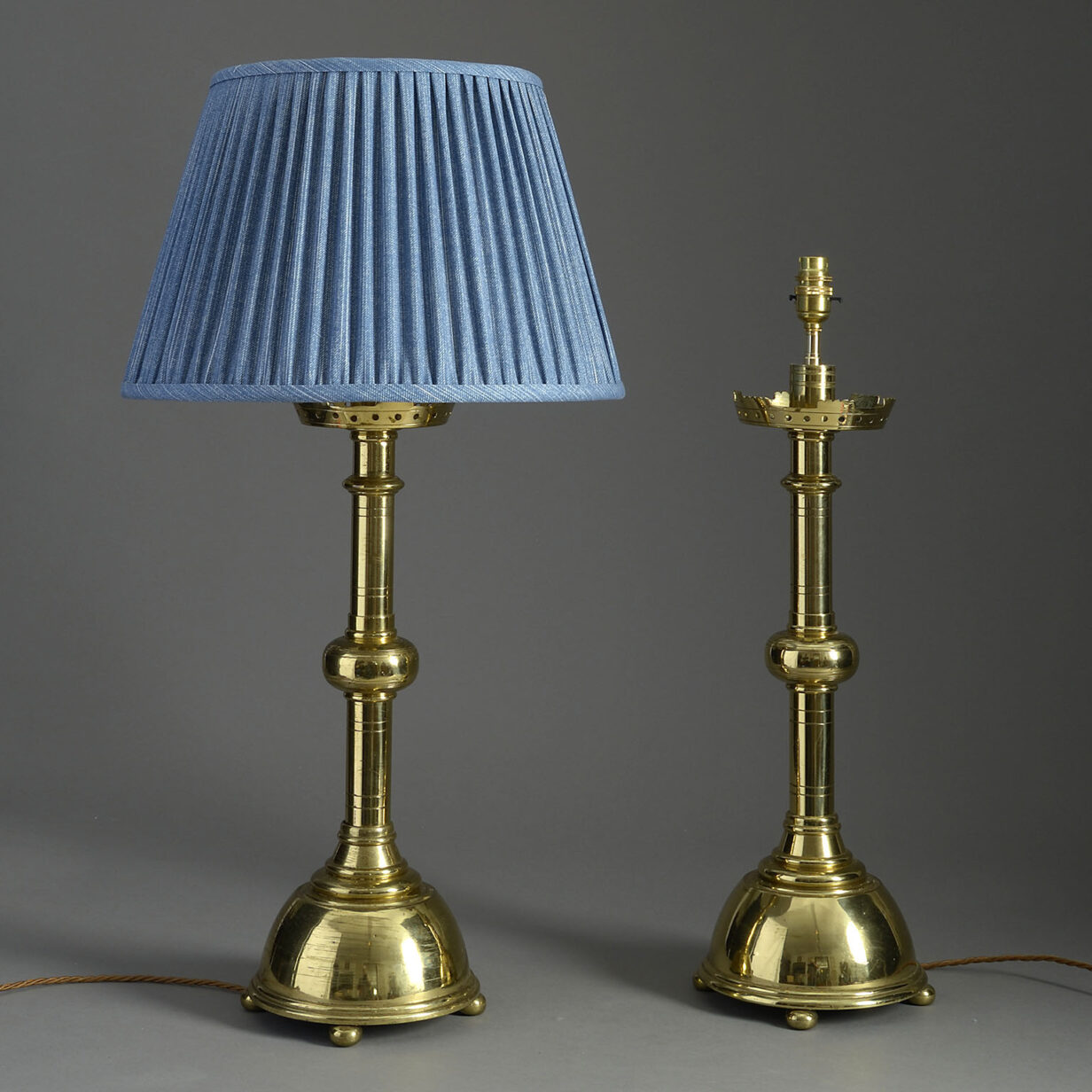 Pair of Brass Gothic Lamps