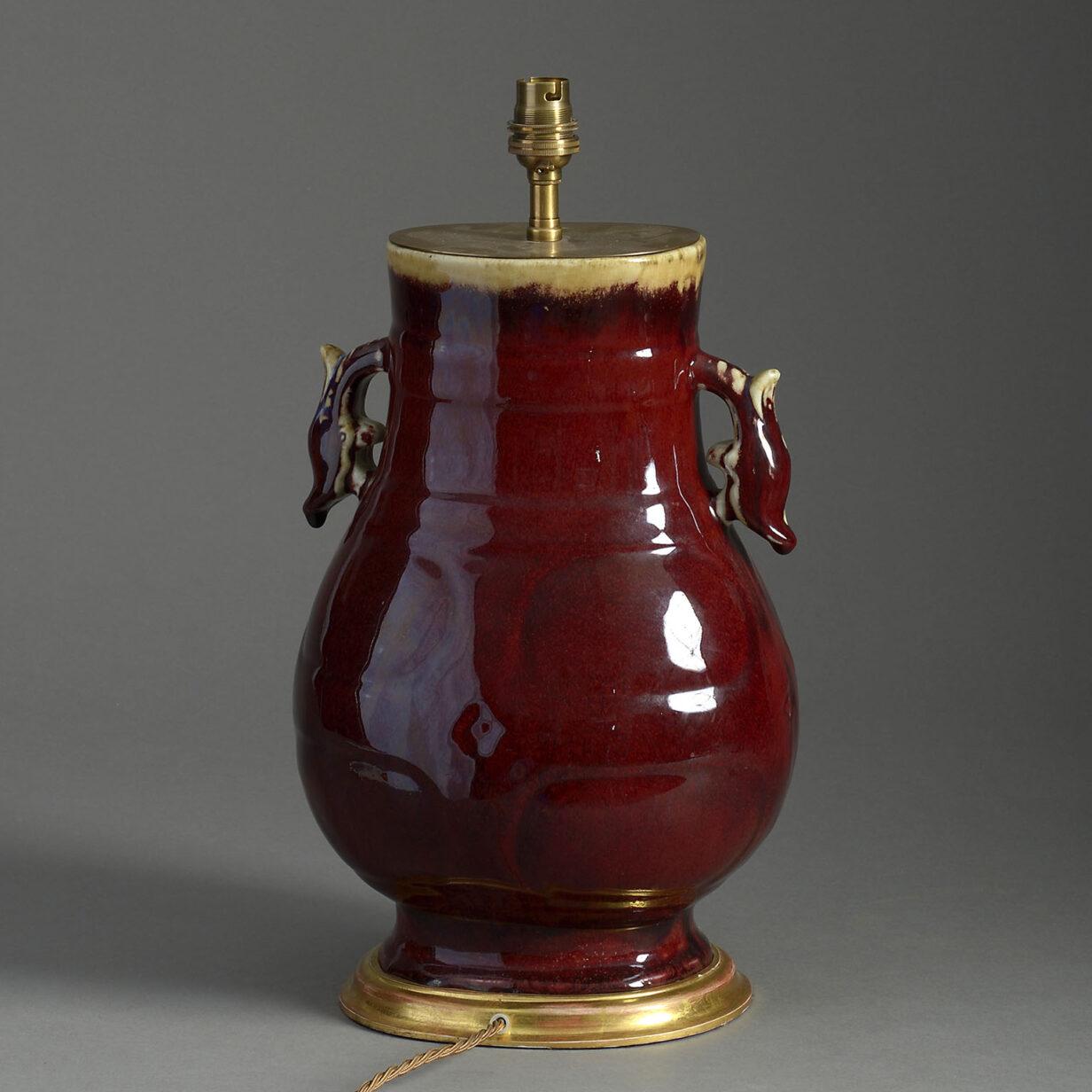 Flambe Porcelain Vase Lamp
