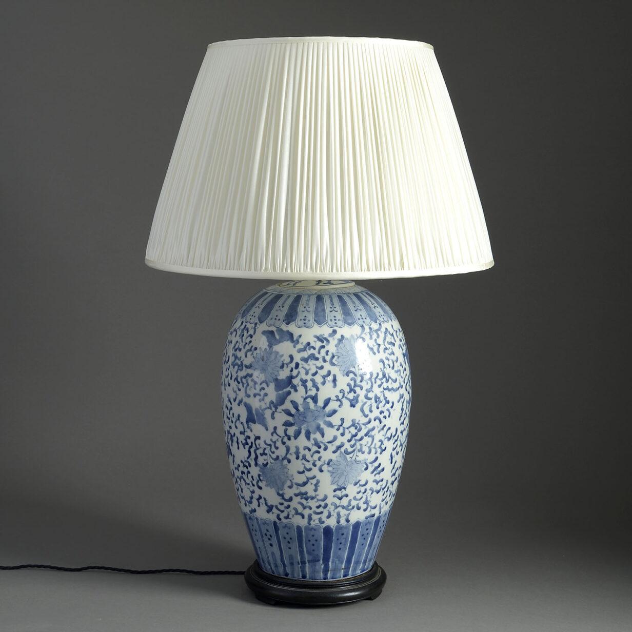 Blue and White Porcelain Jar Lamp